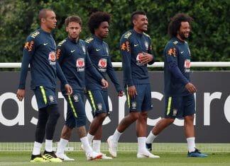 Treino da seleção brasileira em Londres