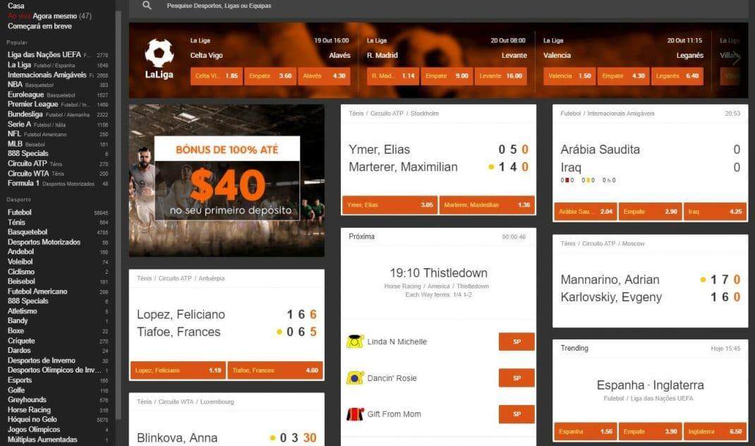 888 Jogos, Mercados e odds